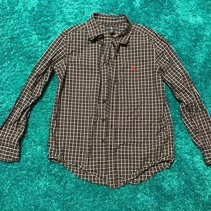 Black and white plaid Ralph Lauren polo shirt
